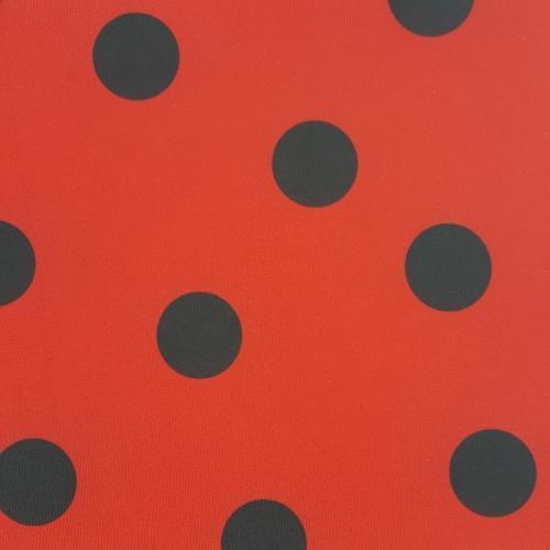 ET356 - Lycra Red Black Polka Dot